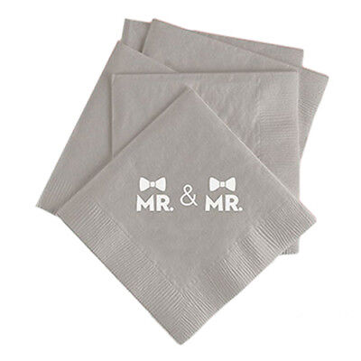 100 Custom Printed Double Bow Tie Gay Wedding Napkins Same Sex Marriage](Bow Tie Napkins)