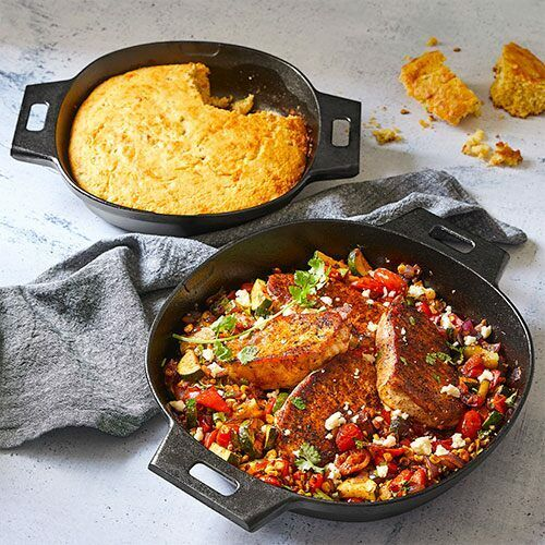 Pampered Chef Cast Iron Skillet Set #100229 - Free Shipping
