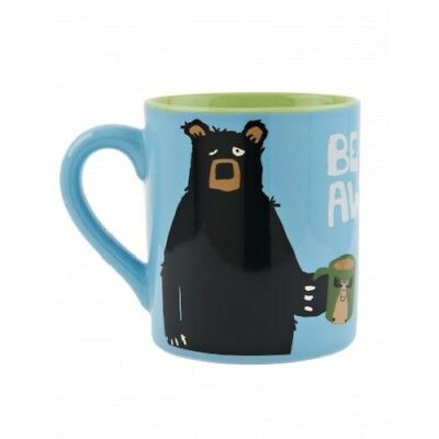 Hatley Funny Ceramic Coffee Mug BEARLY AWAKE 14 oz. Black Bear Morning Bear Ceramic Coffee Mug