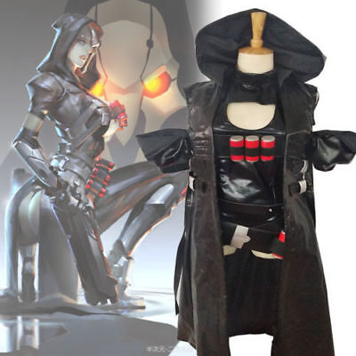 Overwatch OW Reaper Genderbend Trans Gender Women Cosplay Costume Outfit Set (Reaper Cosplay)