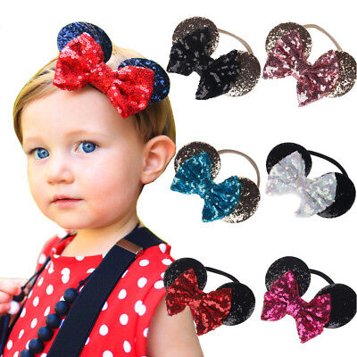 Minnie Mouse Ears Bow Headband Kids Baby Girl Sequin Party Hair Band - Baby Mouse Ears