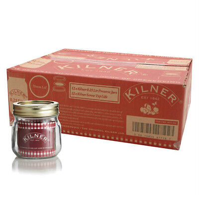 Set Of 12 250ml Kilner Screw Top Glass Jam Chutney Preserving Storage Jars 0.25L