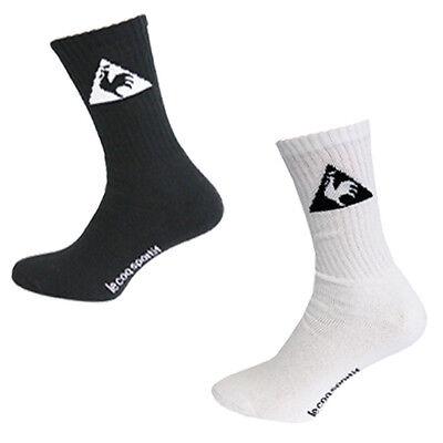 Le Coq Sportif 3 Pack Unisex Crew Socks Black White Mens Sports UW52