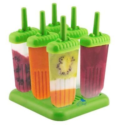 Ice Cream Maker Popsicle Mold Set with Tray and Drip Guard-Green Pack of 6 6 Pack Ice Cream