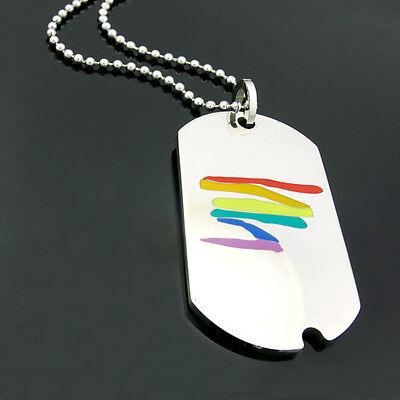 Gay Lesbian Rainbow Pride Stainless Steel Dogtag Squiggly Line Pendant Necklace  - Lesbian Pride Necklace