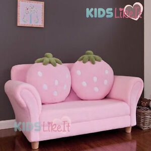New Girls Pink 2 Seat Wooden Strawberry Sofa Couch Kids