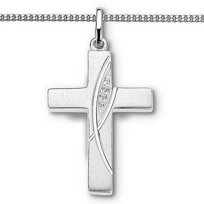 Premium Zirkonia Kreuz Anhänger zur Taufe Kommunion Firmung mit Kette Silber 925