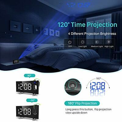 Projection Alarm Clock 15 FM Radio Alarm Clock 5'' Large Curved Dimmer USB