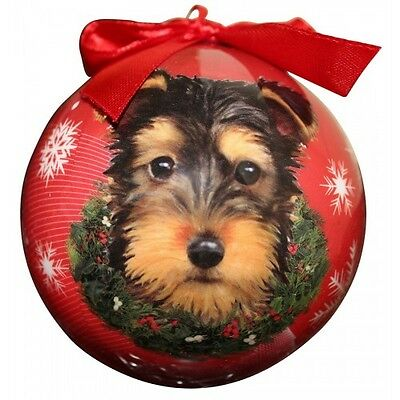 Yorkshire Terrier Christmas Ornament Yorkie Puppy Ball Dog Snowflakes Red New ()