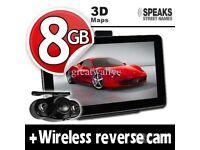 GPS Navigation System+Wireless Reverse Camera+8GB+EU UK POI Maps 7'' Truck & Car