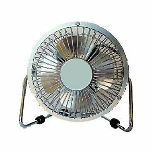 Silver Metal Small 4 034 Personal Desk High Velocity Fan
