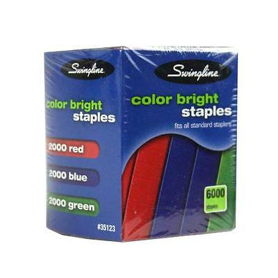 New Swingline 14 Assorted Color Bright Staples - 6000 Per Box - Free Shipping