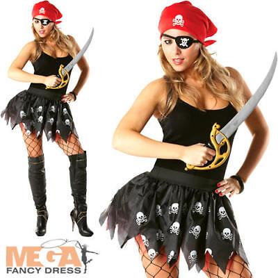 Pirat Tutu (Pirate Tutu + Banadana Ladies Fancy Dress Costume Accessory Kit UK 10 12 14 New)