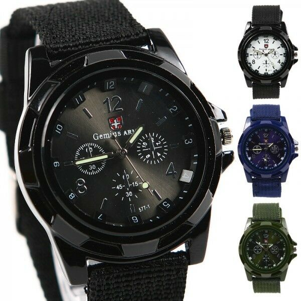 Gemius Army Mens Sports Military Watches Fabric Band Quartz Wrist Watch Stylish