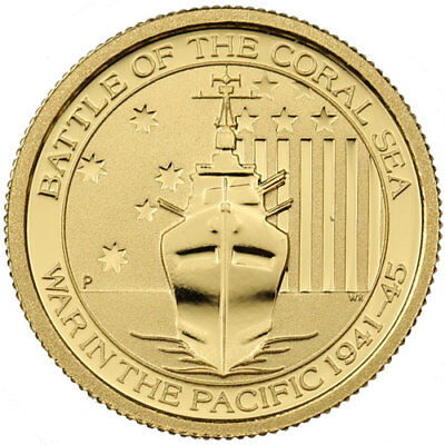 ON SALE! 1/10 oz Australian Battle Of The Coral Sea Gold Coin (BU)