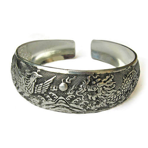 Large Tibetan Carved Sea Mountain Sunrise Dragon Phoenix Amulet Cuff Bracelet