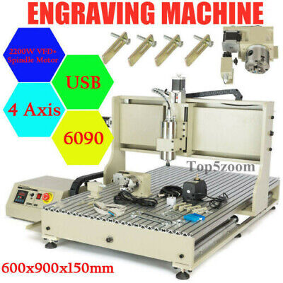 Usb 4 Axis Cnc 6090z Router Engraving Machine Carving Mill Metal Non-metal 2.2kw