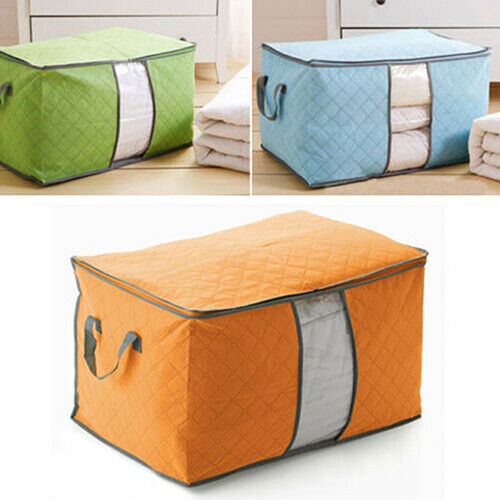 Folding Large Capacity Bamboo Charcoal Clothes Blanket Bag Cloest Storage Box US