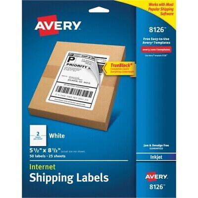 50 Avery Shipping Labels Trueblock Technology 5.5x8.5