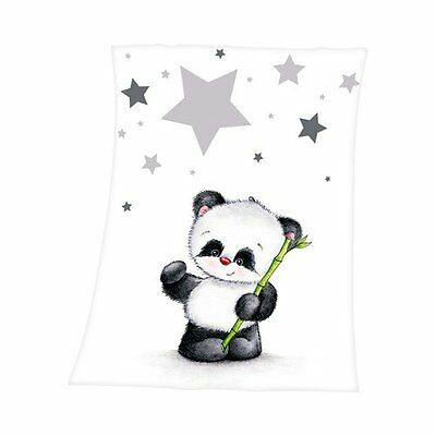 HERDING Babydecke Fynn Panda 75x100 cm Schmusedecke Babydecke NEU weiß