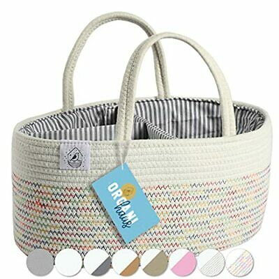 OrganiHaus Rope Diaper Caddy Basket & Nursery Organizer for Baby Changing Tab...