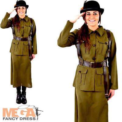 Army 1940s Ladies Fancy Dress WW2 40s Military Uniform Womens Adults Costume - 1940 Fancy Dress Kostüm