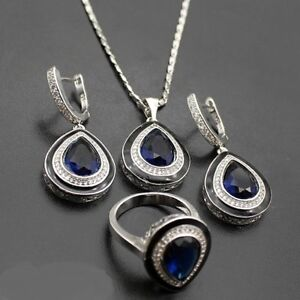 Sapphire Topaz Sterling Silver Set