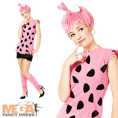 Flintstones Fancy Dress (Pebbles Flintstone Fancy Dress Ladies The Flintstones Costume+ Wig UK 8 10 12 14)