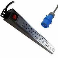 1u 10-way Vertical Uk 13a Switched Pdu With 32 Amp Commando Plug - lms data - ebay.co.uk