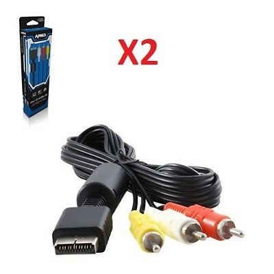 2X PS2 AV Audio Video Composite Cable for Sony Playstation PS1 PS2 PS3 System, used for sale  Shipping to India