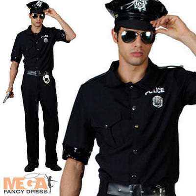 Police Man Cop Mens Fancy Dress Uniform Terminator 80s Adults Costume Outfit - Police Man Costume