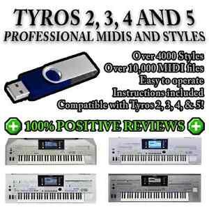 YAMAHA TYROS 2, 3, 4 & 5 - 4000 Pro Styles / OVER 10,000 MIDIs on a USB Stick