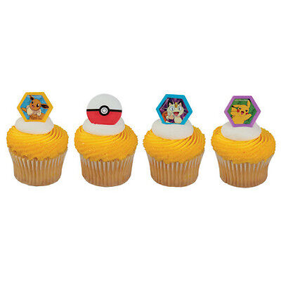 Pokemon Cupcake Topper Rings - Set of 12 (Pokemon Go, Pikachu, Poke - Pokemon Cupcake Rings
