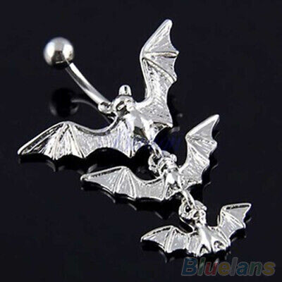 Punk Flying Bats  Navel Ring Dangle Barbell Belly Button Silver Body Piercing  Bat Dangle Belly Ring