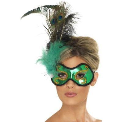 Smi - Halloween Karneval Augenmaske Smaragd Pfau mit - Pfau Kostüm Maske