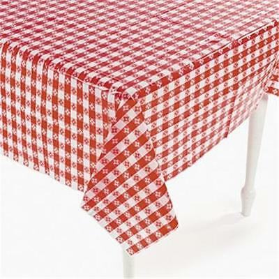 2  Plastic Red And White Checkered Table Covers 52