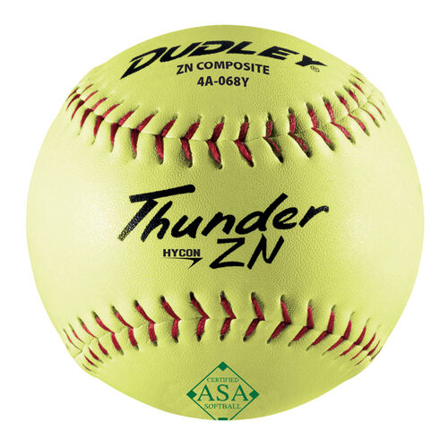 Dudley Asa Thunder Hycon Zn Slow Pitch Softballs 12 Ball Pack
