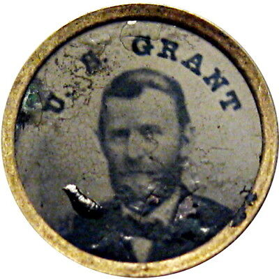 1868 Ulysses S Grant Ferrotype Political Campaign Pin