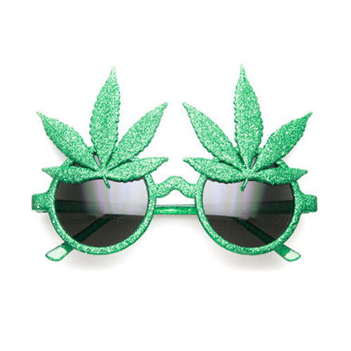 Novelty Green Glitter Weed Marijuana Leaf Fancy Dress Ganja Stoner Glasses Rasta