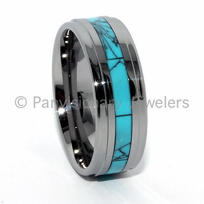 Turquoise Tungsten Carbide Ring  Dyed Inlay 9MM Step Bevel Edge Comfort (Comfort Fit Step Edge)