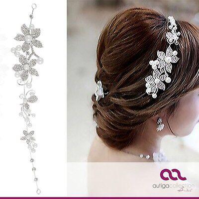 Braut Haarreif Tiara Perlen Strass Blüten Haarschmuck Hochzeit Haarband