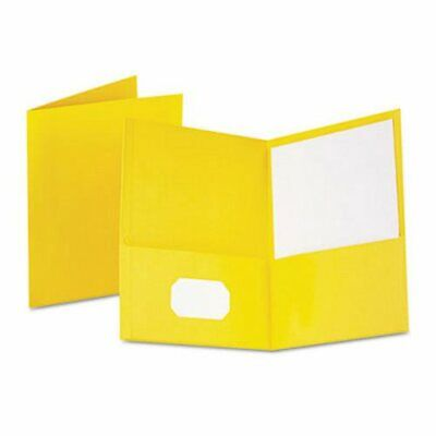 Oxford Twin-pocket Folder Embossed Leather Grain Paper Yellow Oxf57509