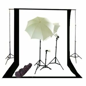 Black/ White Continous Lighting kit w/ Backdrop Support System