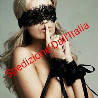 SEXY MASCHERA MASCHERINA PIZZO+MANETTE COORDINATE SERATA HOT giochi di coppia