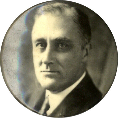 Rare Early Franklin Roosevelt Campaign Photo Button