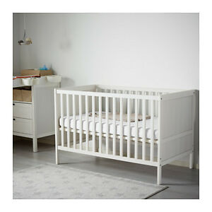 IKEA White SUNDVIK Crib with Mattress - Barely Used