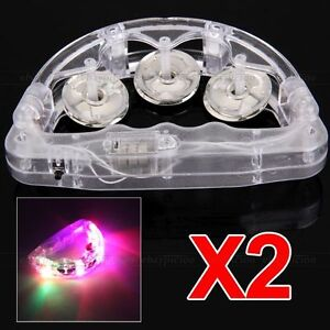 2 Flashing Light Up LED TAMBOURINE Toy for KTV Festival Party