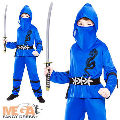 Blue Ninja Boys Fancy Dress Japanese Samurai Warrior Kids Childs Costume Outfit