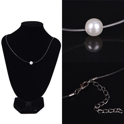 (Acrylic Pearl Pendant Necklace Choker Invisible Clear Fishing Line Choker)
