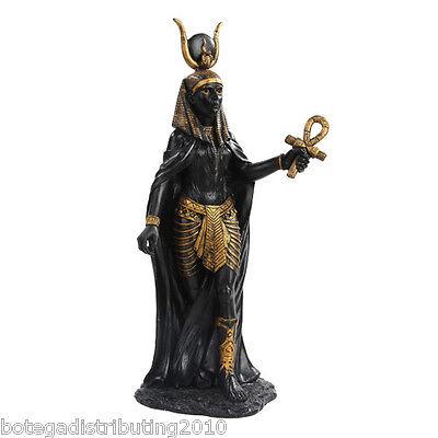 HATHOR FIGURINE ANCIENT EGYPTIAN GODDESS OF LOVE BEAUTY STATUE BLACK GOLD